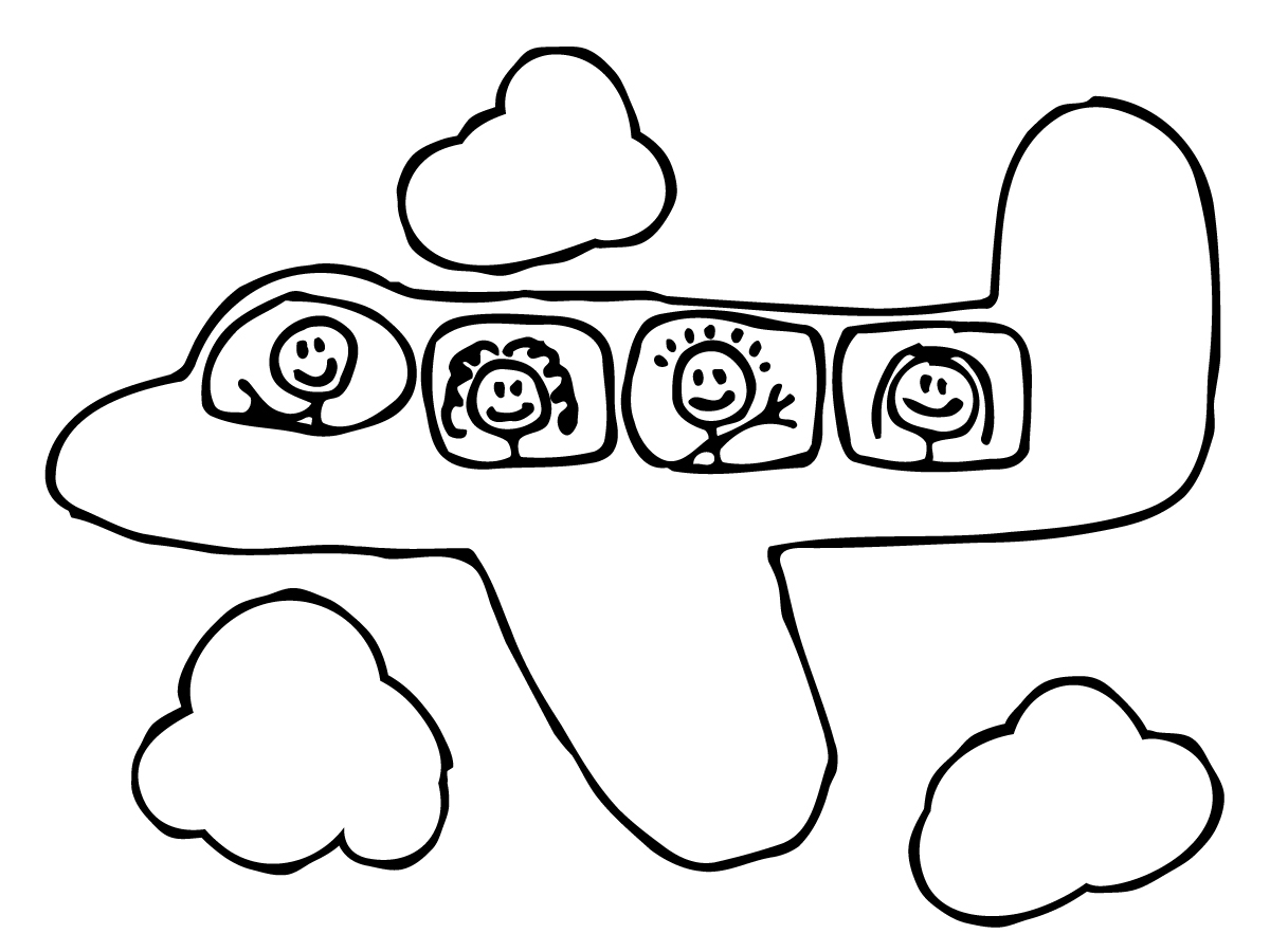Drawn cartoon plane #13