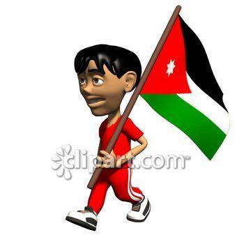 Jordania clipart animated Jordan 3D com holding patriotic