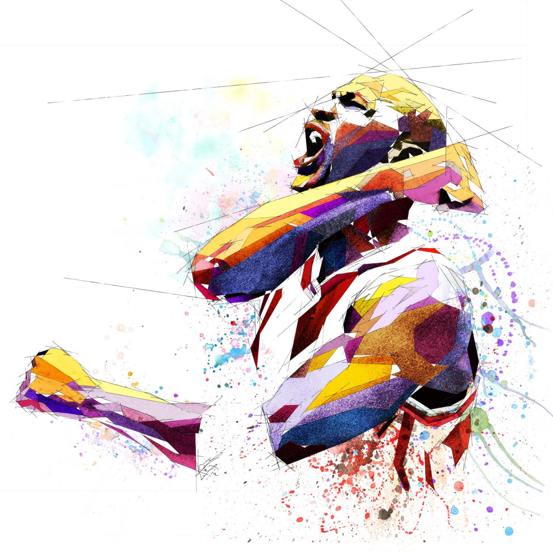 Jordania clipart color Watercolor Contemporary Sports Art Basketball