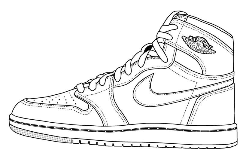 Drawn shoe jordan 1 Clipart Colored Free pages
