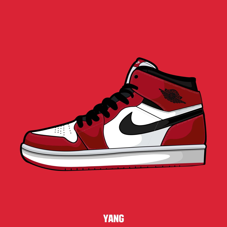 Drawn shoe jordan 1 Carmine shoes graphic jordan