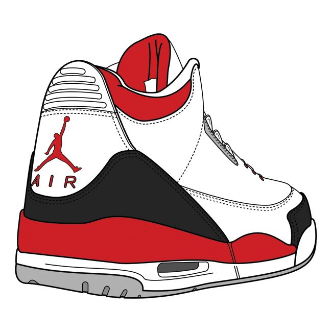 Drawn shoe jordan 3 Carmine drawing sneakers Clipart Jordan