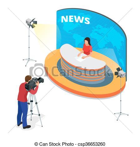 Journalist clipart breaking news Interview Journalist news Flat isometric