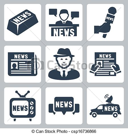 Journalist clipart broadcast journalism Icons journalism news and set