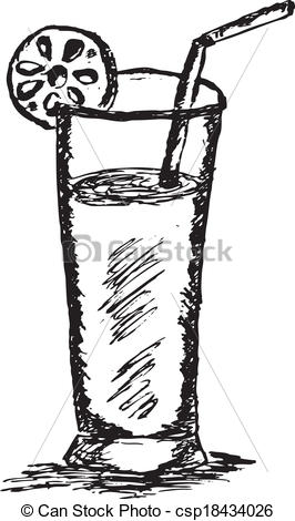 Juice clipart black and white Vector draw hand Sketch Illustration