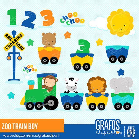 Baby Animal clipart train BOY Clipart Clipart Set Best