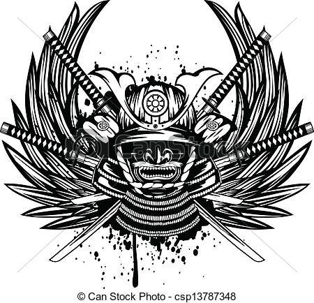 Katana clipart samuri With Vector helmet Vector Vector