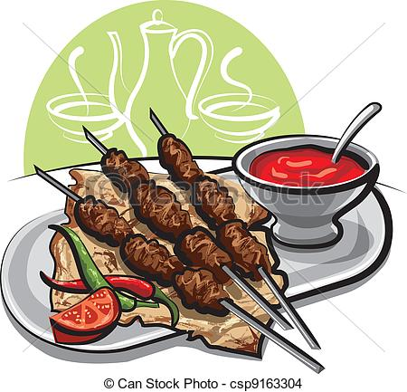 Kebab clipart Kebab sauce Art Vector of