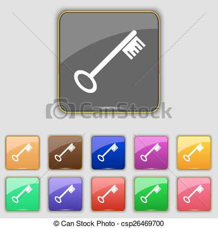 Key clipart colored key Key sign of Vector Set