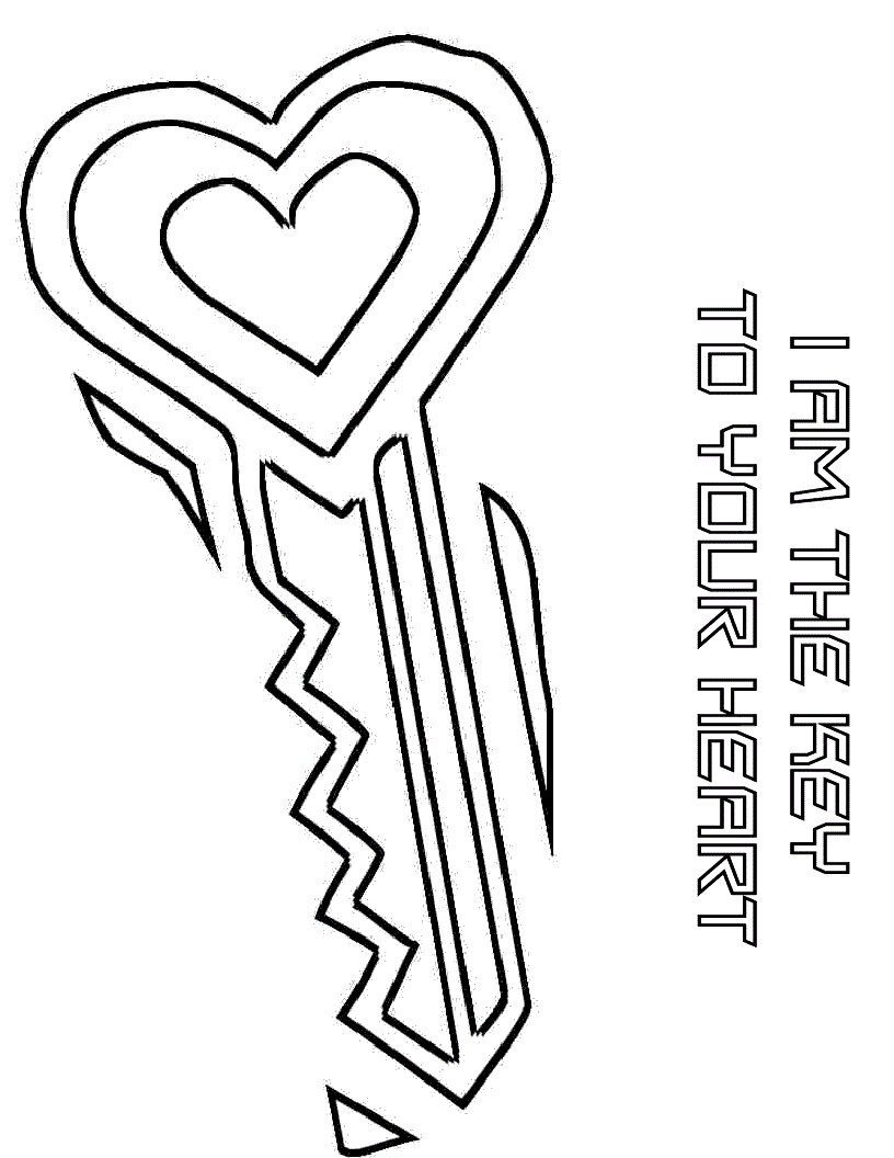 Key clipart colouring page Noah The Pages heart Images