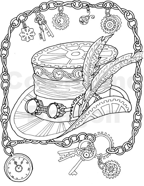 Key clipart colouring page Chains pages Steampunk coloring page
