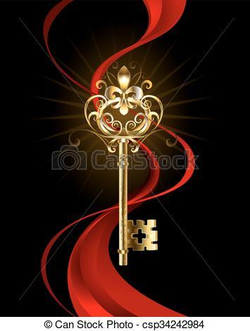 Key clipart fleur de lis Golden csp34242984 decorated of key