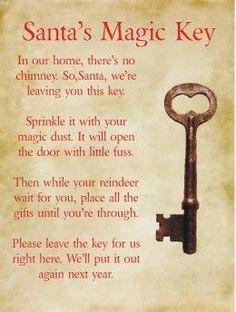 Key clipart magic key Printable: Santa's key Santa
