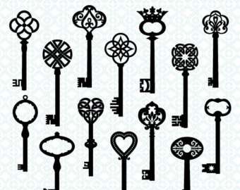 Key clipart old fashioned Black key skeleton Celtic digital