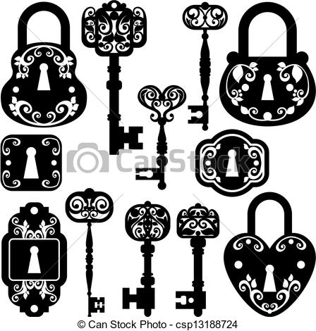 Lock clipart vintage Keys royalty and free Vector