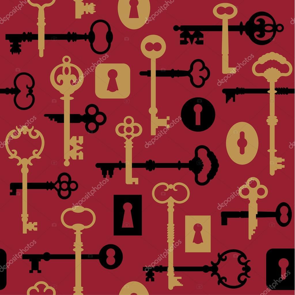 Key clipart red skeleton — Skeleton Vector Pattern Locks