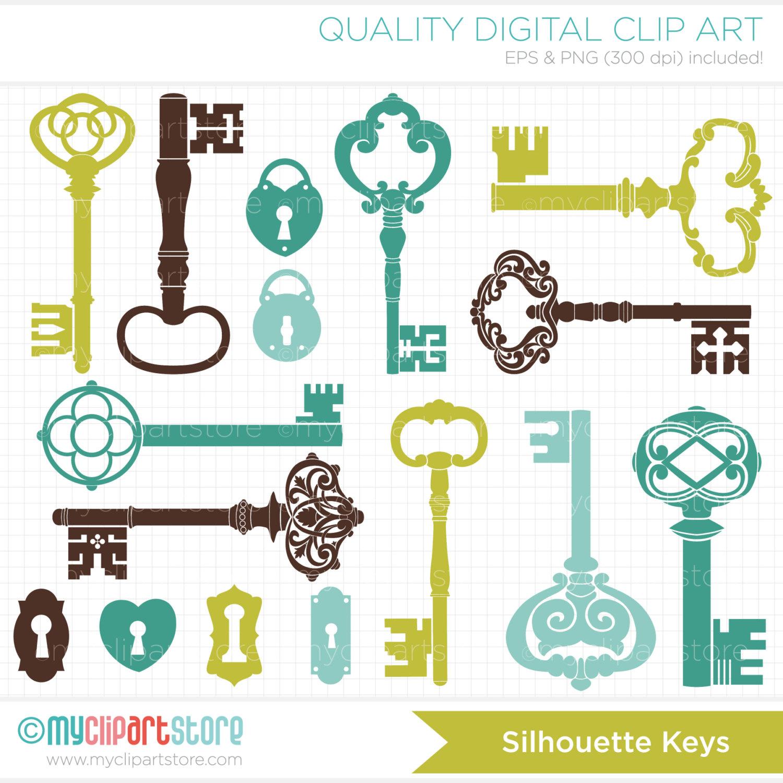 Key clipart skeleton key Stamps Digital Digital Like Silhouettes