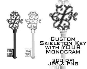 Key clipart skeleton key Custom key Clipart Downloadable Etsy