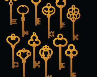Key clipart skeleton key Images key clipart Foil Etsy