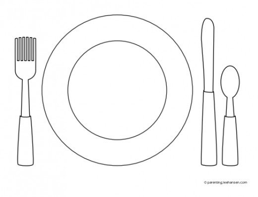 Plate clipart coloring page #2
