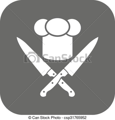Knife clipart crossed Knives knives icon Cook hat