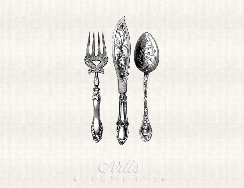 Cutlery clipart vintage Like ClipArt Antique Cutlery Vintage