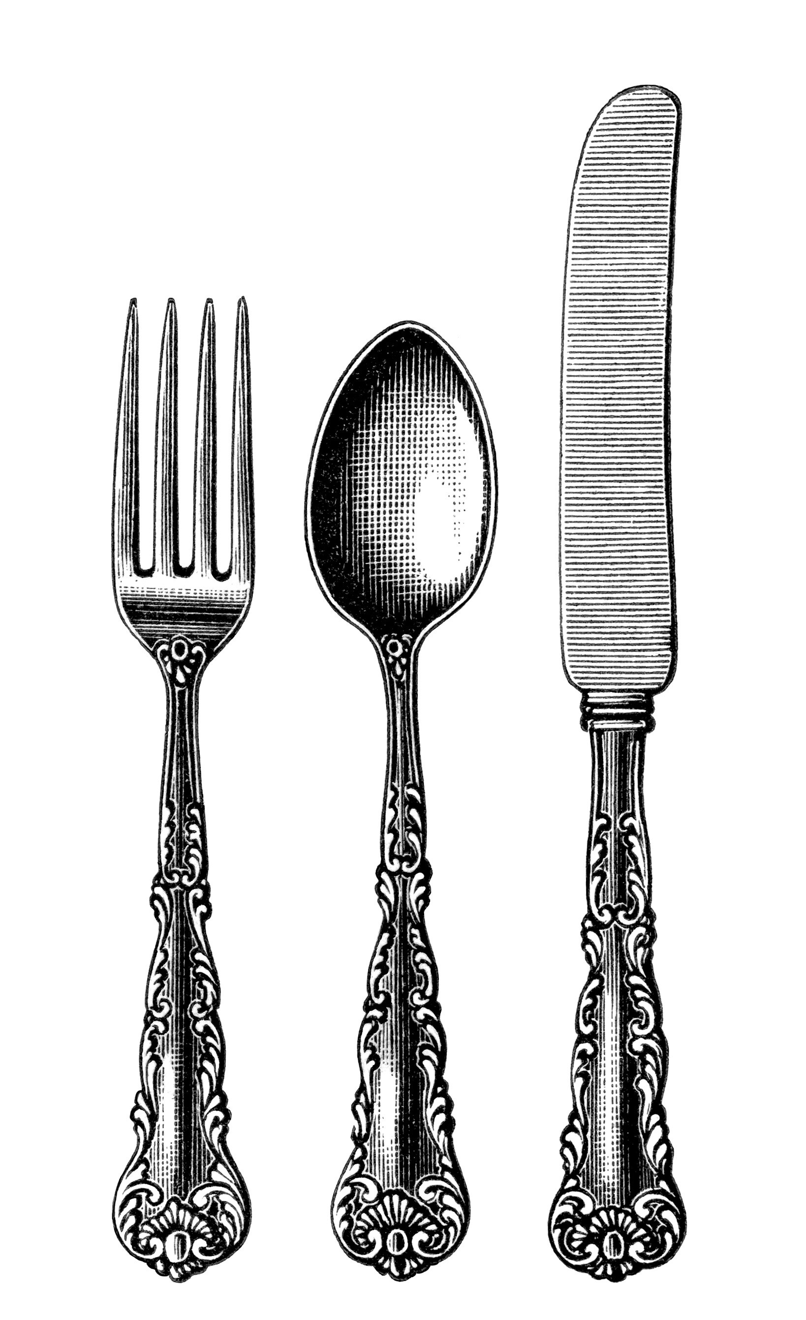 Cutlery clipart silverware Old white white and knife