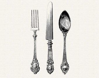 Cutlery clipart silverware Cutlery  Vintage Silverware Cutlery