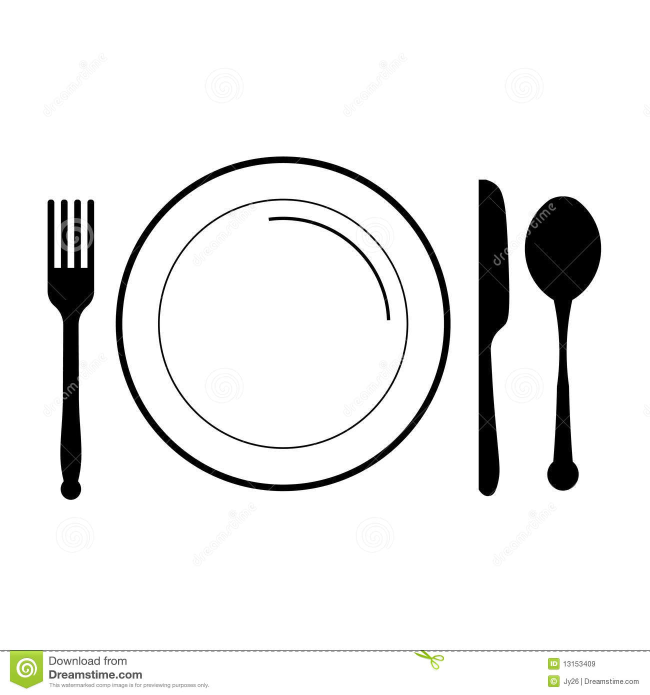 Bowl clipart fork Black Clip Plate and food