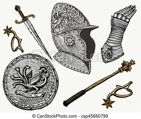 Knife clipart medieval Symbols and sword and vintage