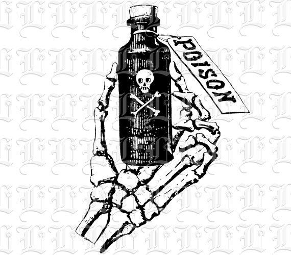 Victorian clipart symbol Poison Poison Skeleton Art Bottle