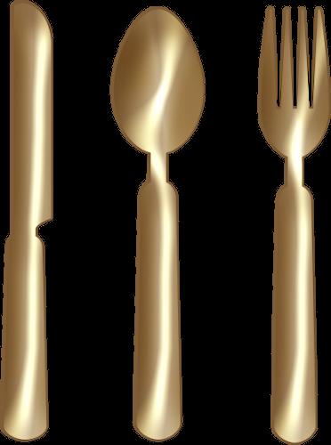 Khife clipart spoon Art Fork Png Gold Knife