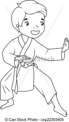 Kimono clipart vector Boy karate of csp22303405 wearing