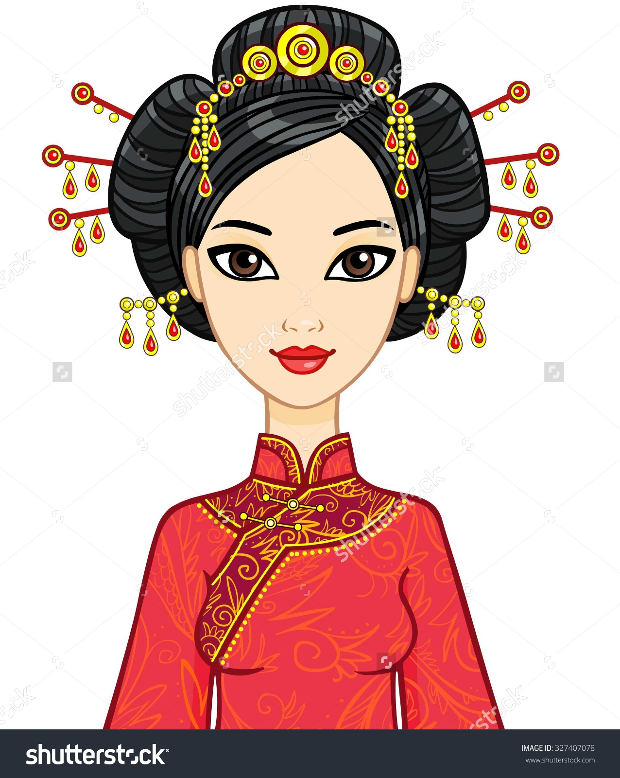 Kimono clipart chinese woman Traditional Clothes Vector clipart Portrait