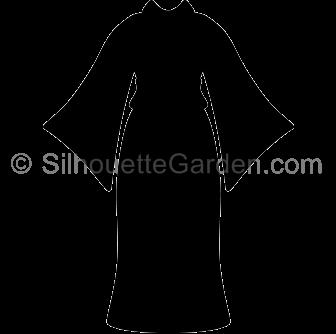 Kimono clipart yukata 3 Silhouette Kimono Clothing Silhouettes