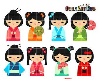 Kimono clipart japanese doll Tradition Etsy Art Wooden Japanese