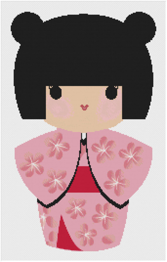 Kimono clipart japanese doll International Stitch with Cherry