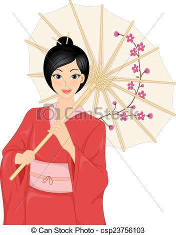 Kimono clipart japanese kimono  Girl Japanese Girl Kimono