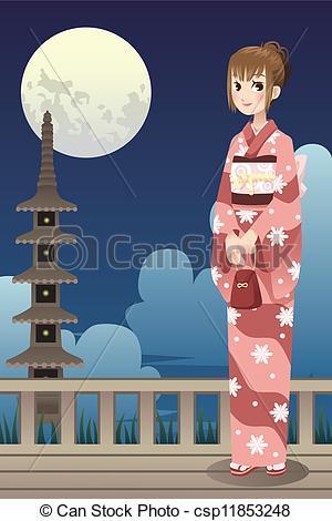 Kimono clipart japanese kimono Girl Illustration Girl kimono Japanese