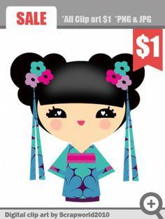 Kimono clipart kokeshi / inspiration Dolls  Cute