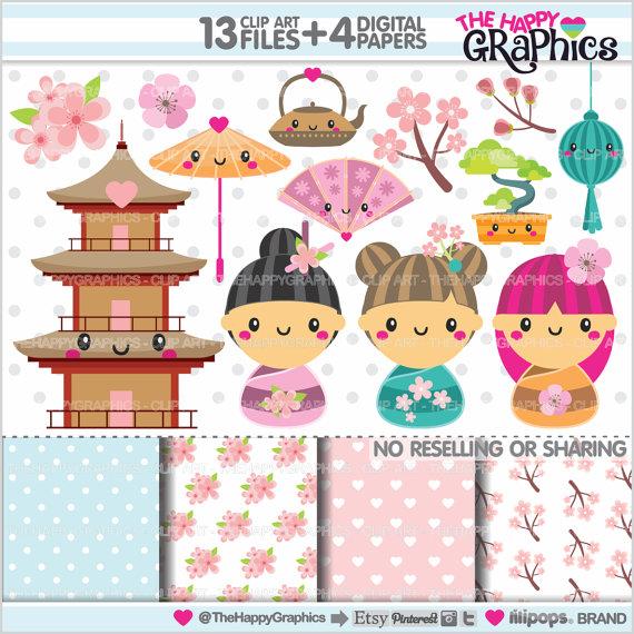 Kimono clipart kokeshi Kokeshi USE Clipart Clipart Graphics
