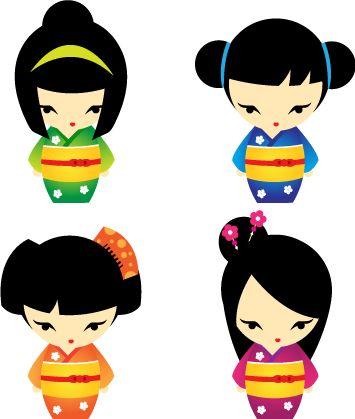 Kimono clipart kokeshi Desenhos about Pinterest 388 Dolls