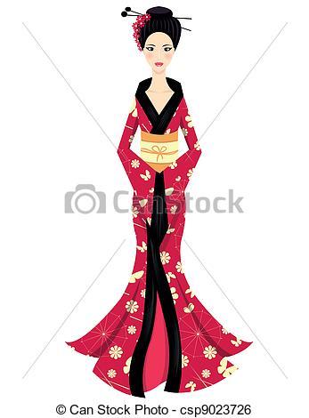 Kimono clipart vector Character Vector Girl of csp9023726