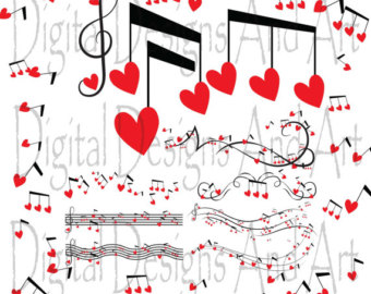 Kisses clipart lovely Notes Musical Love Gold hearts