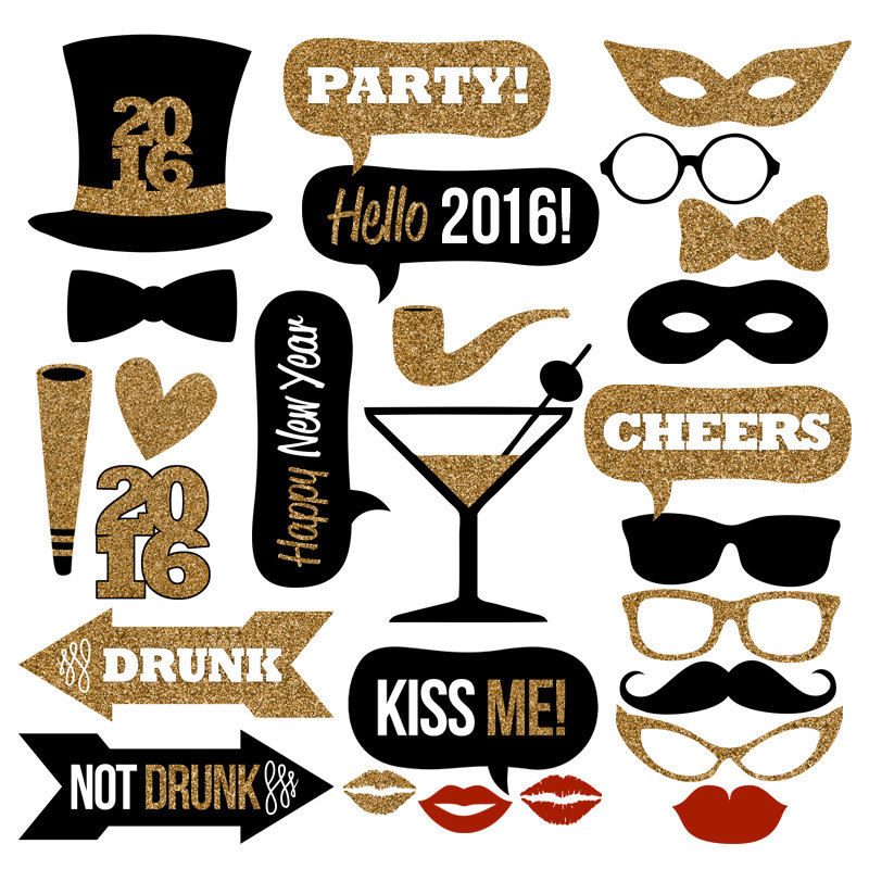 Kisses clipart new years eve  Photo Download–Black Glitter for