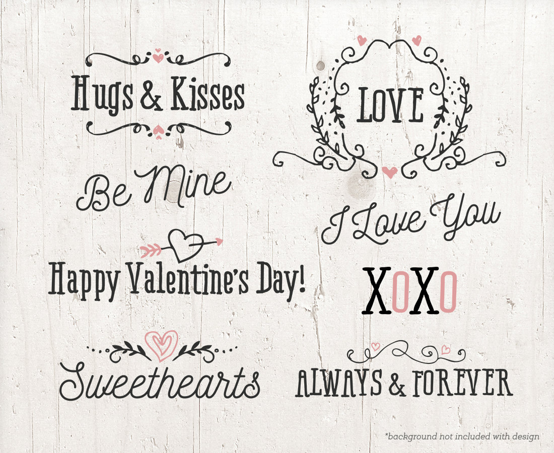 Kisses clipart the word Valentine digital is a Word