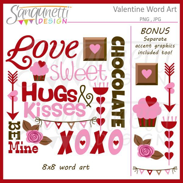 Kisses clipart the word Best Word Design: Valentine about