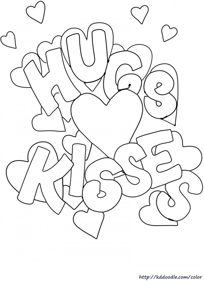 Kisses clipart valentine's day Coloring printable  Day page