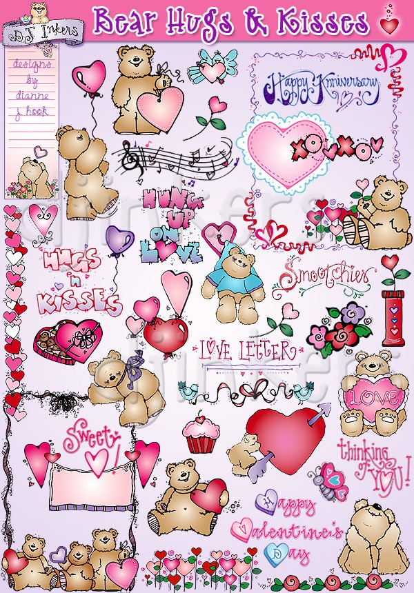 Kisses clipart valentine's day Printables Clipart Inkers & Art