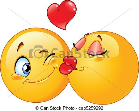 Kisses clipart cartoon Csp5259292 of Kissing emoticons Vector